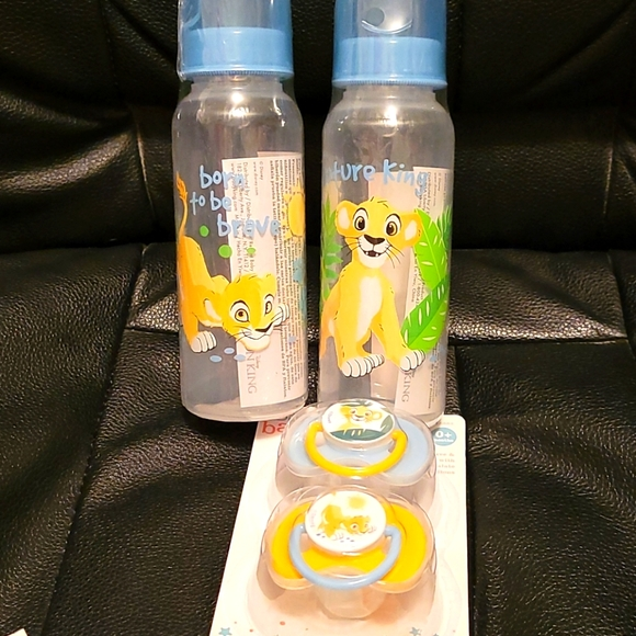 2 Disney baby Lion King Bottles and 2 pacifiers